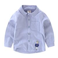 儿童白衬衣 男 长袖宝宝纯棉圆领衬衫新款小童童装 男童纯色上衣