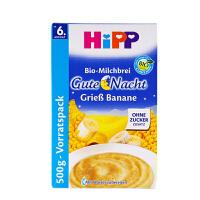德国HiPP喜宝有机香蕉牛奶燕麦晚安米粉米糊3445 (6个月以上宝宝辅食 500g) 【1盒装】