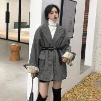 网红超火的格子小西装女冬季韩版中长款宽松百搭上衣外套 均码