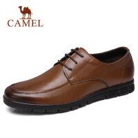 【每满100减50 满200减100】camel 骆驼男鞋2018春季英伦时尚商务正装皮鞋真皮系带德比鞋皮鞋