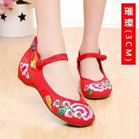 老北京布鞋中式结婚鞋秀禾服龙凤绣花鞋女红色新娘鞋坡跟平底高跟