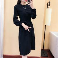 针织连衣裙秋装女2018新款灯笼袖钉珠毛衣裙韩版修身气质过膝长裙