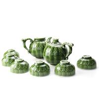 乾唐轩活瓷茶具碧玉花果茶具1壶1海6杯创意陶瓷商务办公家用礼品