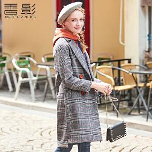 香影毛呢外套女中长款 2017冬装新款休闲格子印花外套修身韩版潮