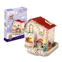 手工拼装房子儿童玩具女孩乐立方3D立体拼图纸质模型别墅diy小屋