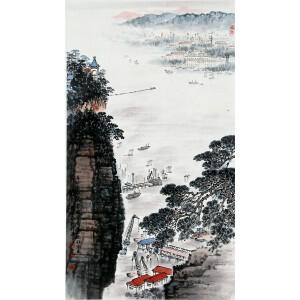 当代中国山水画主要代表人 钱松岩《水乡人家》