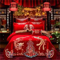 全棉婚庆四件套大红新婚高端中欧式红色结婚喜庆被子纯棉床上用品 十件套 2.0m(6.6英尺)床 配套被套2.