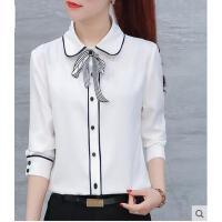 气质优雅长袖雪纺衫女春装时尚娃娃领蝴蝶结百搭职业长袖衬衣