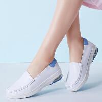 女鞋护士鞋气垫底增高坡跟四季款套脚乐福鞋彩底单鞋小白鞋工作鞋舒适