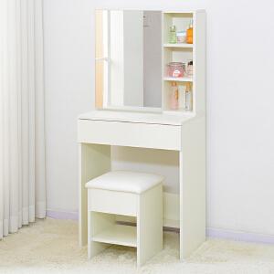 梳妆台 田园梳妆桌宜家简约小户型实木质架子化妆桌镜带凳子卧室简易梳妆架创意家具