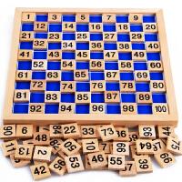 蒙氏数学益智早教玩具 2-3-4岁宝宝儿童学习1-100数字逻辑木制拼图卡片 积木智力连续数数板