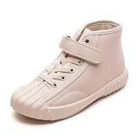 童鞋百搭高帮小白鞋女童冬季皮鞋男童运动鞋