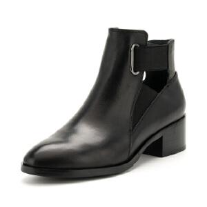 D:Fuse/迪芙斯牛皮镂空松紧带粗跟时尚短靴DF74116042