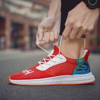 2019夏季帆布鞋子的鞋子男鞋板鞋韩版飞织网布透气平底潮流百搭红色休闲鞋潮