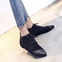 英伦风女鞋2019春季新款拼色系带小皮鞋深口单鞋尖头平底女鞋短靴