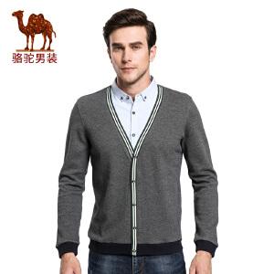 骆驼&熊猫联名系列男装 秋季青年时尚衬衫领假两件衫长袖T恤衫男