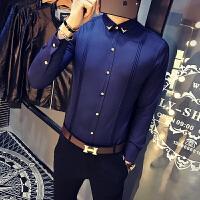 春秋新款男士韩版修身纯色免烫长袖衬衫潮流青年商务休闲衬衣服