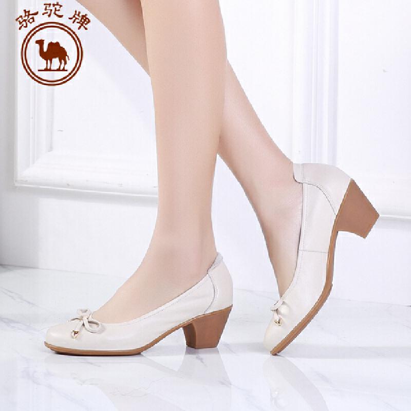 骆驼牌女鞋 春季新品 休闲单鞋女士浅口粗跟高跟甜美鞋子