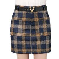 秋冬半身裙高腰毛呢短裙女一步裙格子裙口袋半身a字包臀短裙