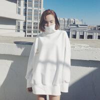 卫衣裙女秋冬新款加绒加厚中长款高领外套韩版潮原宿BF宽松上衣服 白色