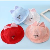 婴儿帽子春夏女宝宝网眼帽薄款遮阳太阳帽8-24个月儿童公主帽