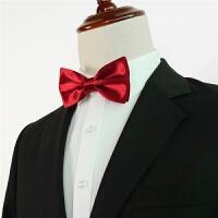 男士正装商务结婚新郎伴郎蝴蝶结黑红蓝绿紫纯色衬衫大领结