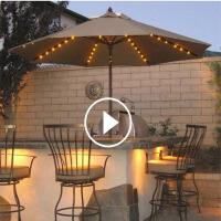 户外休闲桌椅太阳伞遮阳伞露台太阳能LED灯庭院3米大号花园罗马伞室外