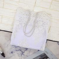 蕾丝包包女新款秋冬手提包购物袋韩国托特包刺绣轻斜挎包女包 白色大号 收藏加购优先发货