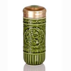 乾唐轩活瓷杯 葵花龙随身杯350ml双层隔热创意陶瓷茶水杯子便携