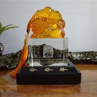 纪念品定制玉玺龙印章琉璃水晶摆件 *客户老板礼物商务礼品