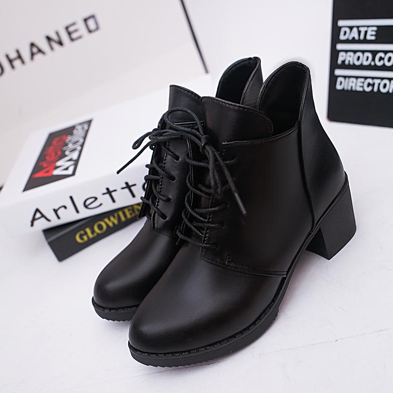 秋冬季马丁靴女士高跟单靴英伦风裸靴女鞋系带粗跟短筒短靴潮 黑色 单鞋