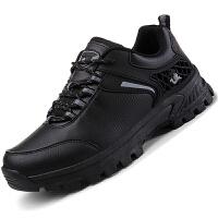 男鞋秋季运动休闲鞋男士户外登山鞋大码防滑旅游鞋皮面防水鞋耐磨.