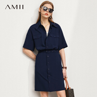 Amii极简设计感小众衬衫连衣裙女2021夏季新款配腰带气质衬衣裙子\预售8月2日发货