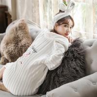 秋冬季加长款法兰绒睡袍女珊瑚绒睡衣韩版甜美公主家居服加绒加厚 火烈鸟白 160(M)