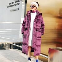 七格格丝绒羽绒服女中长款冬装2018新款潮韩版时尚加厚面包服外套