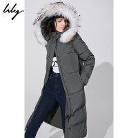Lily秋冬新款女装帅气高领长款直筒真毛领羽绒服118430D1519