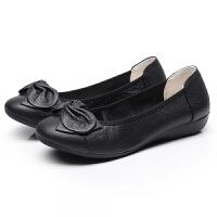 浅口妈妈鞋单鞋春季新款中老年人女鞋软底平底皮鞋工作鞋