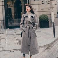 2018秋冬季新款呢子大衣女中长款森系学生赫本流行风格子毛呢外套 褐色