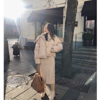 女中长款2018冬装新款韩版宽松大毛领加厚棉袄外套小个子棉衣 卡其色 S