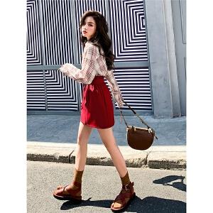 红色格子衬衫女长袖宽松韩版2019春季新款百搭学生港味衬衣外套潮
