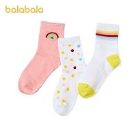 巴拉巴拉儿童袜子春季新款女童棉袜加厚保暖幼童可爱柔软三双装