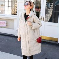孕妇羽绒服冬纯色大码外套潮妈连帽中长款白鸭绒孕妇棉袄K-5512