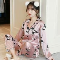 睡衣女秋季长袖韩版甜美可爱公主风冰丝性感可外穿套装丝绸家居服