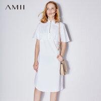 【AMII 超级品牌日】Amii[极简主义]2017夏装新翻领拉链半开襟短袖棉质连衣裙11742744