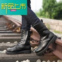 新品上市真皮牛皮靴男户外沙漠工装靴 钢头钢底子男户外中筒马丁靴