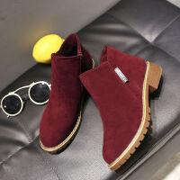 35-42大码女靴秋冬复古磨砂方跟马丁靴尖头低跟短靴加大码女鞋41