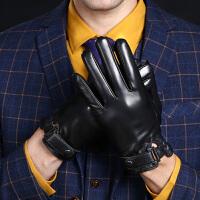 羊皮手套男冬季触屏薄款商务开车保暖加绒加厚骑行摩托车真皮手套