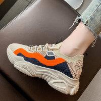 运动鞋2019新款女韩版秋季透气女运动休闲鞋圆头松糕跟网鞋老爹鞋