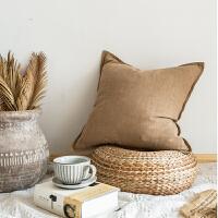 北欧风简约现代亚麻纯色纯棉麻抱枕沙发靠垫靠枕套办公室腰枕靠背