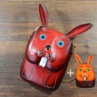 2018082410067手工牛皮单肩包兔子动物斜挎包皮手机包卡通女包可爱休闲小包包 +零钱包
